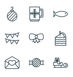 Set of 9 holiday icons includes toffee candy vector
