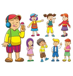 set of cartoon kids vector image