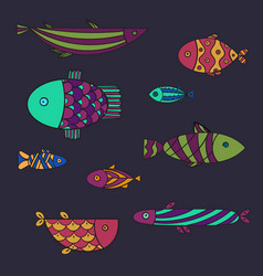 Set of cute sea fish illsutration vector