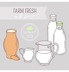 Set of hand drawn dairy farm objects vector