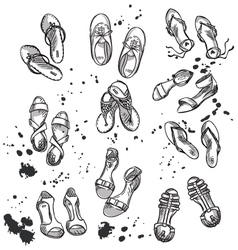 Set of summer footwear vector image