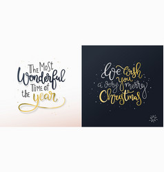 set of two christmas cards with freehand greetings vector image