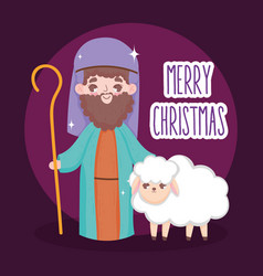 Shepherd with sheep manger nativity merry vector