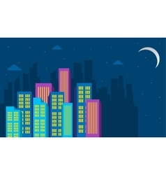 Silhouette of city building at the night vector