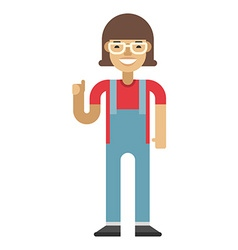 Smiling girl in denim overall Flat isolated on vector