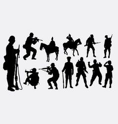 soldier military army and police silhouette vector image