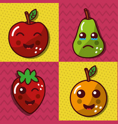 ste of kawaii fruit happy lovely cartoon vector image