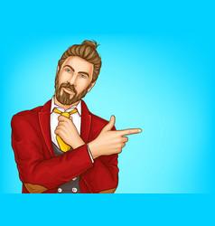 stylish hipster man portrait pop art vector image