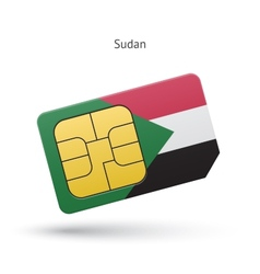 Sudan mobile phone sim card with flag vector