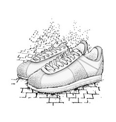 the image of sports sneakers on granite paving vector image