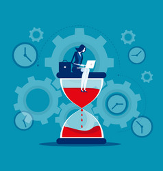 Time management businesswoman sitting on vector