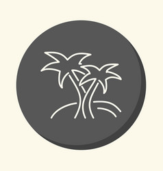 two palms on the island round line icon vector image