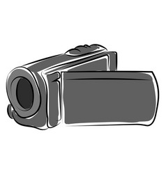 video camera drawing on white background vector image