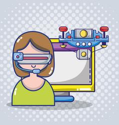 virtual reality headset cartoon vector image