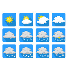 Weather icons flat design stock vector