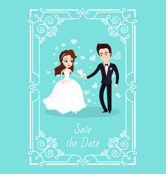 Wedding man and woman bride and groom ceremony vector