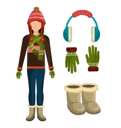 Winter fashion clothes and accesories vector image