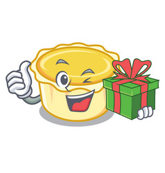 With gift egg tart mascot cartoon vector