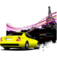 yellow car sedan with paris image background vector image vector image