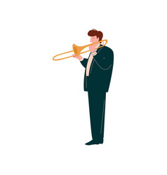 Young man playing trumpet male musician trumpeter vector