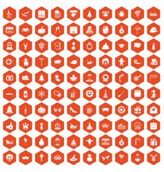100 holidays icons hexagon orange vector image vector image