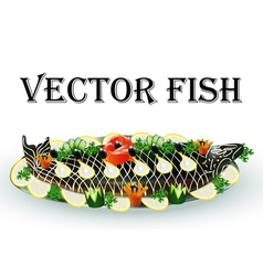 fish fried stuffed with lemon vector image vector image