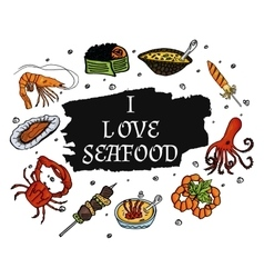 I love seafood on a pure white background vector image vector image