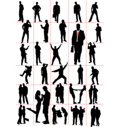 people silhouettes men women pair couple vector image