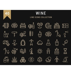 Set Flat Line Icons Wine vector image