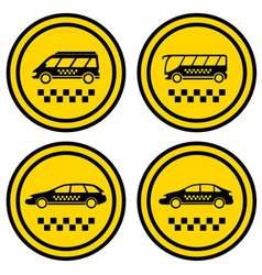 set round taxi icons vector image vector image
