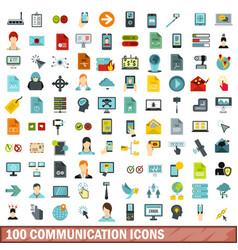 100 communication icons set flat style vector image
