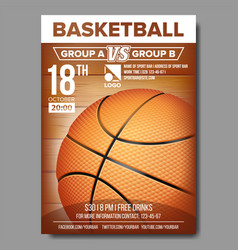 basketball poster sport event announcement vector image