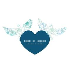 blue line art flowers birds holding heart vector image