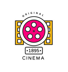 cinema or movie logo template film industry label vector image