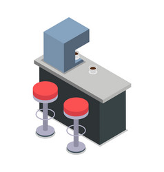 coffee shop bar counter with red chairs isolated vector image