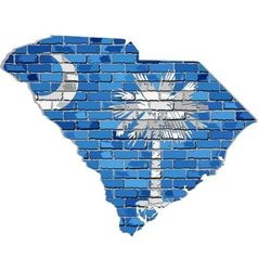 South Carolina map on a brick wall vector image