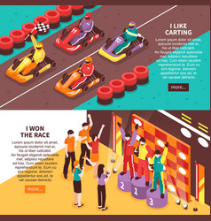 carting winners banners set vector image vector image