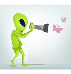 Cartoon Photographer Alien vector image vector image