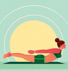 Girl lies in yoga locust pose or salabhasana vector
