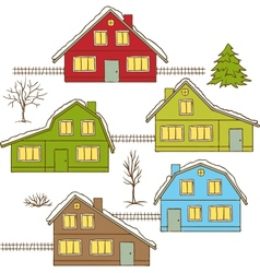 Hand drawing winter houses isolated vector image