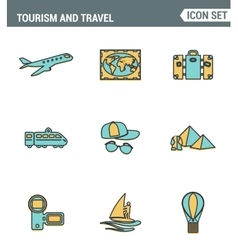 Icons line set premium quality of tourism travel vector image
