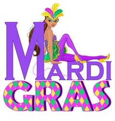 Mardi Gras Girl Design vector image vector image