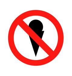 no ice cream symbol icon vector image vector image
