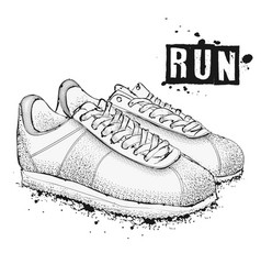 the image of sports sneakers on a white vector image vector image