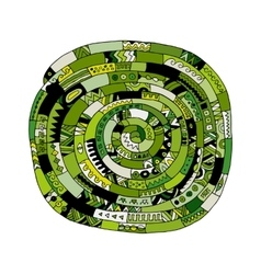 Ethnic spiral mandala green sketch for your vector image vector image