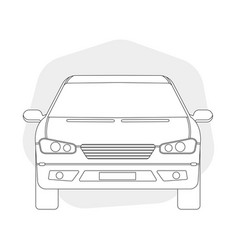 front view line outline car vector image