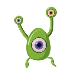 Green one eye alien monster icon cartoon style vector image vector image