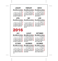 Pocket calendar 2016 template vector image vector image