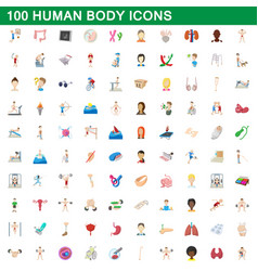 100 human body icons set cartoon style vector