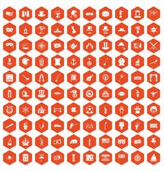 100 top hat icons hexagon orange vector image